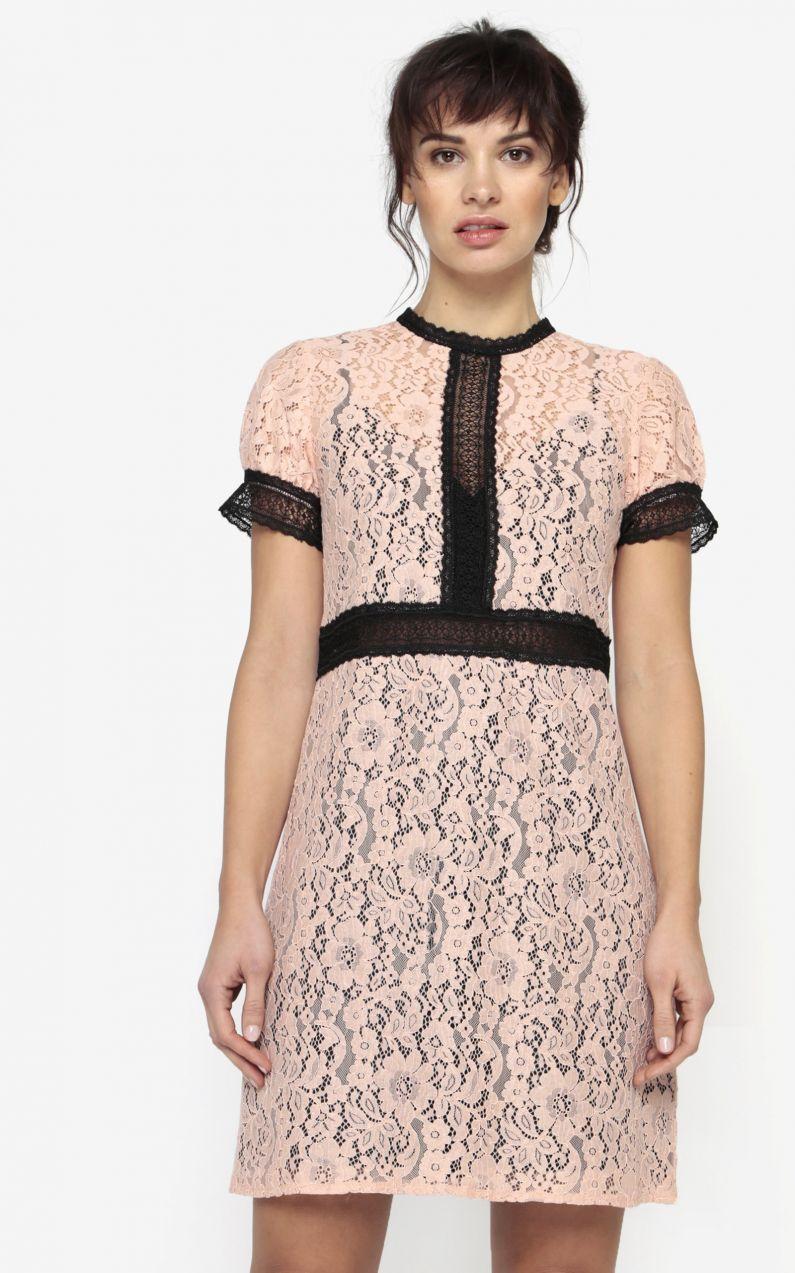 Svetloružové čipkované šaty s priesvitnými detailmi Little Mistress ... 67c73cc3c21