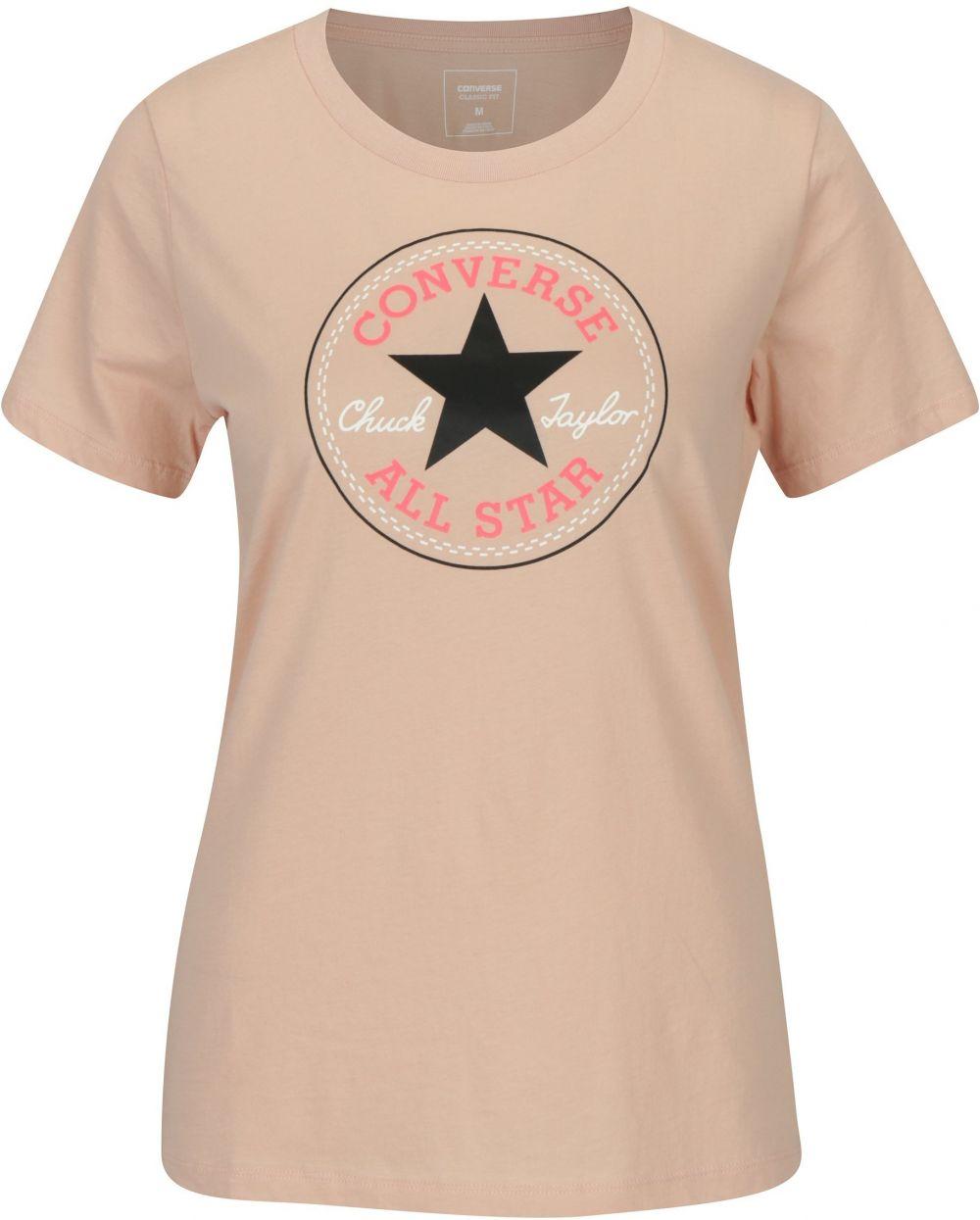 3fe7b05babbd Svetloružové dámske tričko s potlačou Converse Core značky Converse -  Lovely.sk