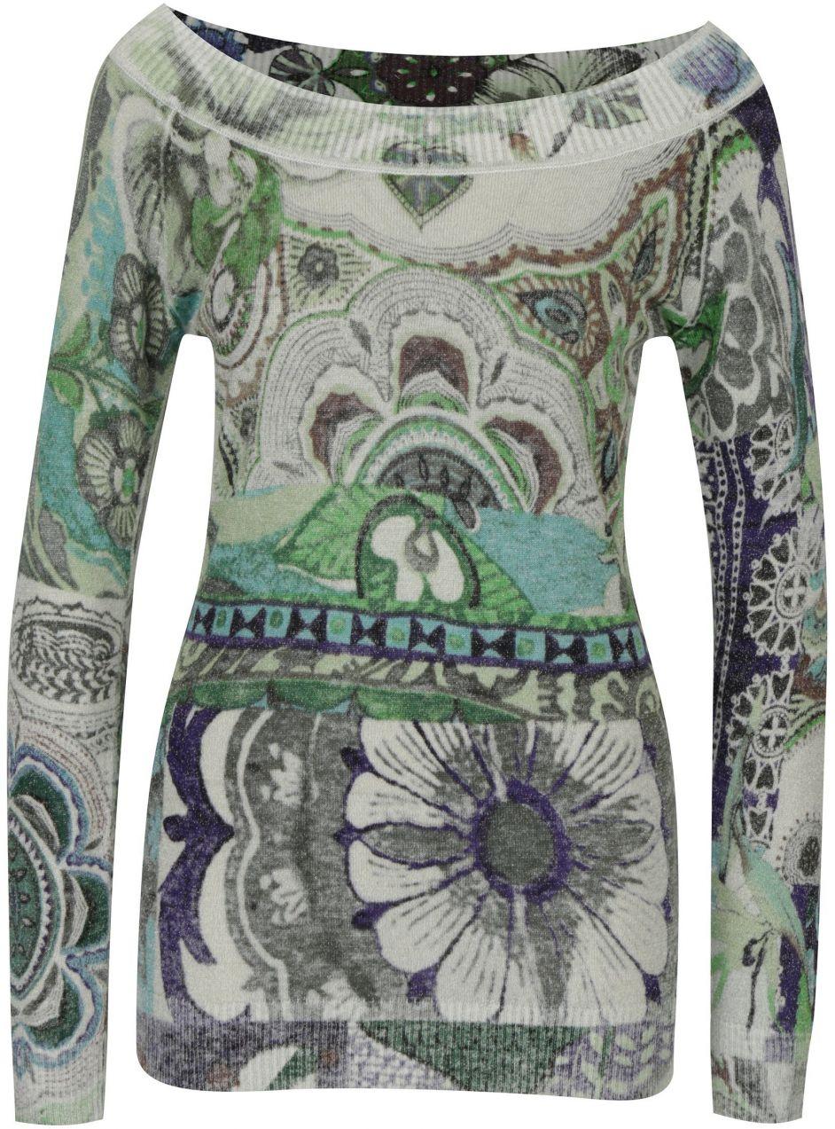 Sivý vzorovaný sveter s lodičkovým výstrihom Desigual Purpura značky  Desigual - Lovely.sk 20d5c519983