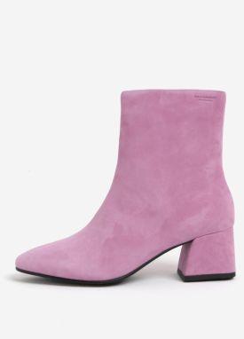 Ružové dámske semišové členkové topánky na podpätku Vagabond Alice 6115405aefb