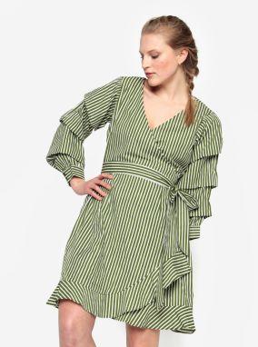 9b888715cdd6 Krémovo-zelené zavinovacie šaty VILA Picana