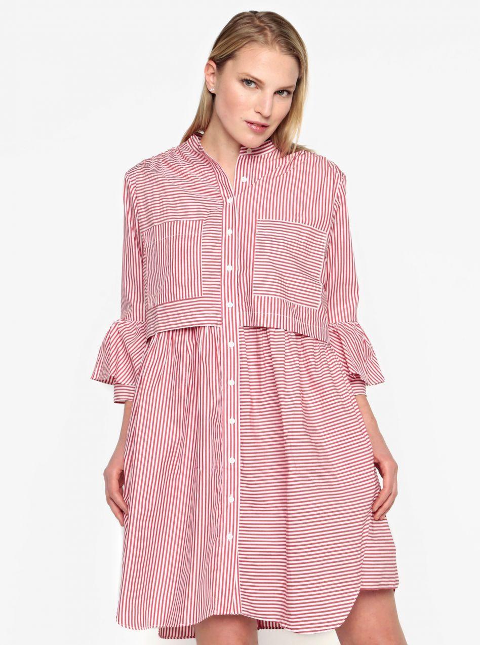 Krémovo–červené košeľové oversize šaty French Connection Summer značky  French Connection - Lovely.sk e7f11591f94