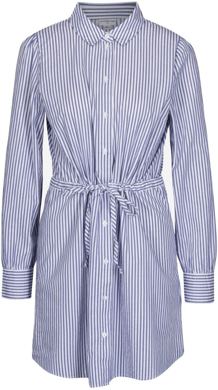 ad7bab8365bb Bielo-modré pruhované košeľové šaty Jacqueline de Yong Lucky značky  Jacqueline de Yong - Lovely.sk