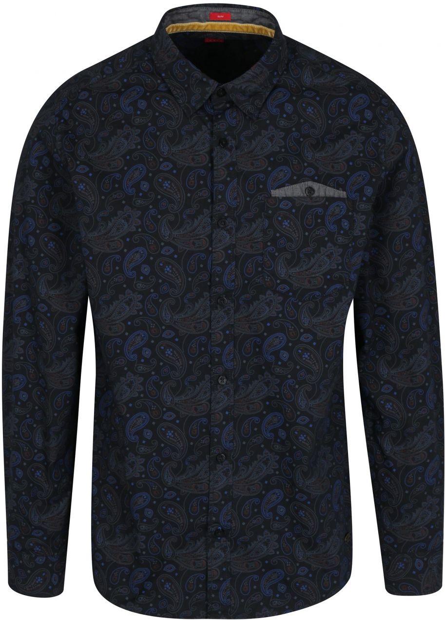 33d5c897808d Tmavomodrá pánska vzorovaná slim fit košeľa s.Oliver značky s.Oliver -  Lovely.sk