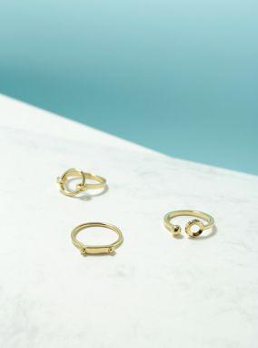 Súprava troch prstienkov v zlatej farbe Pieces Martha galéria