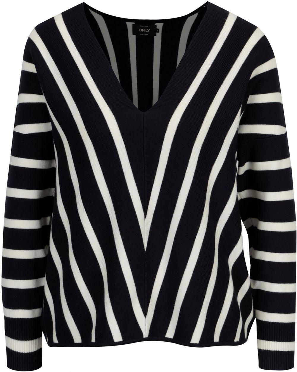 e048169db1f4 Tmavomodrý pruhovaný sveter s véčkovým výstrihom ONLY Aya značky ...