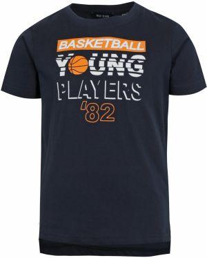 16c7caa75fc4 Tmavomodré chlapčenské tričko s predĺženým zadným dielom a potlačou Blue  Seven
