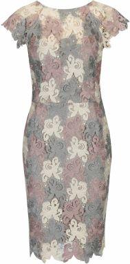 a2a95240f1c1 Krémovo–sivé čipkované šaty s výstrihom na chrbte Paper Dolls