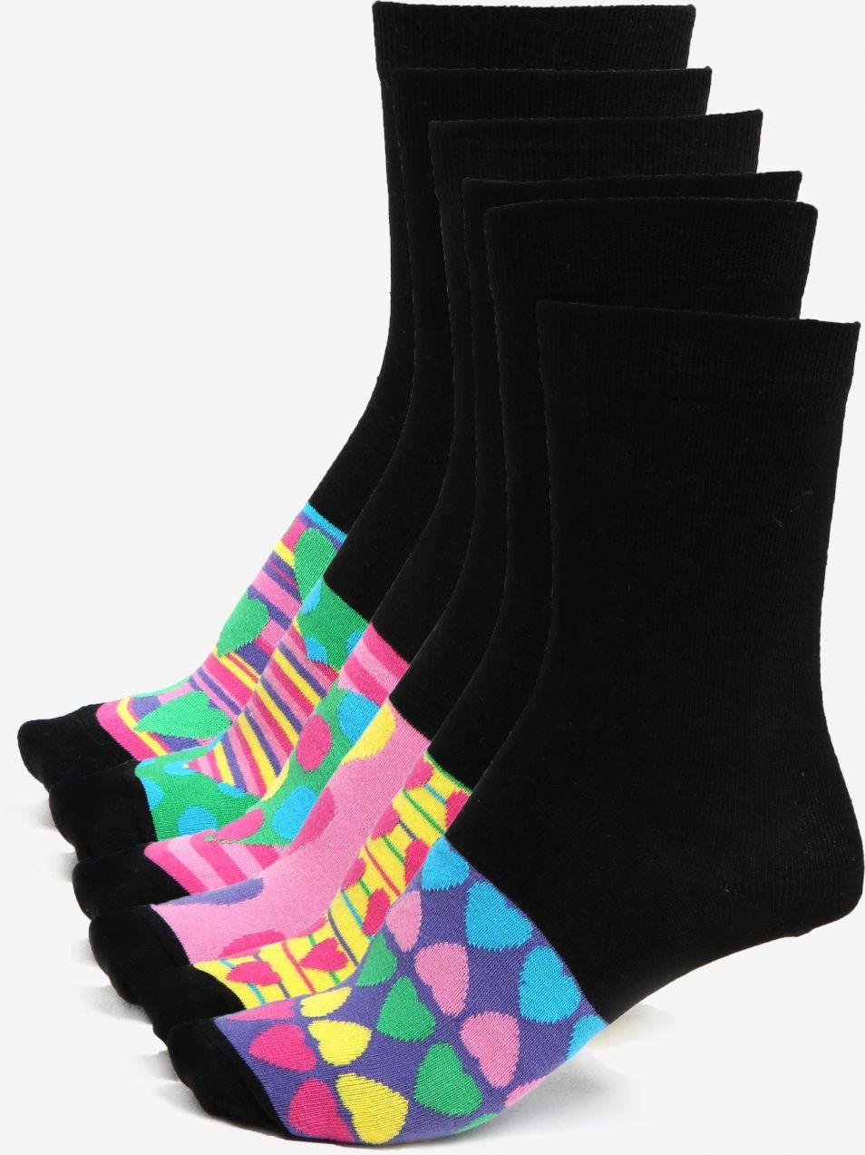 Súprava šiestich dámskych vzorovaných ponožiek v čiernej a ružovej farbe  Oddsocks Secret značky Oddsocks - Lovely.sk b5abfa10463
