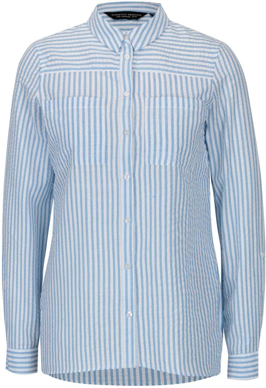 8eeec1e7ef31 Bielo-modrá pruhovaná košeľa s vreckami Dorothy Perkins značky ...