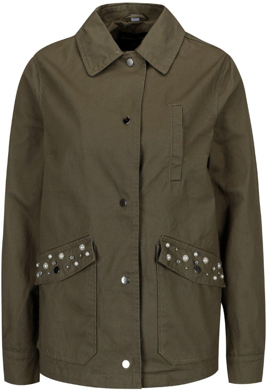 70413a88cf5b Kaki bunda s aplikáciou na vreckách Dorothy Perkins značky Dorothy Perkins  - Lovely.sk