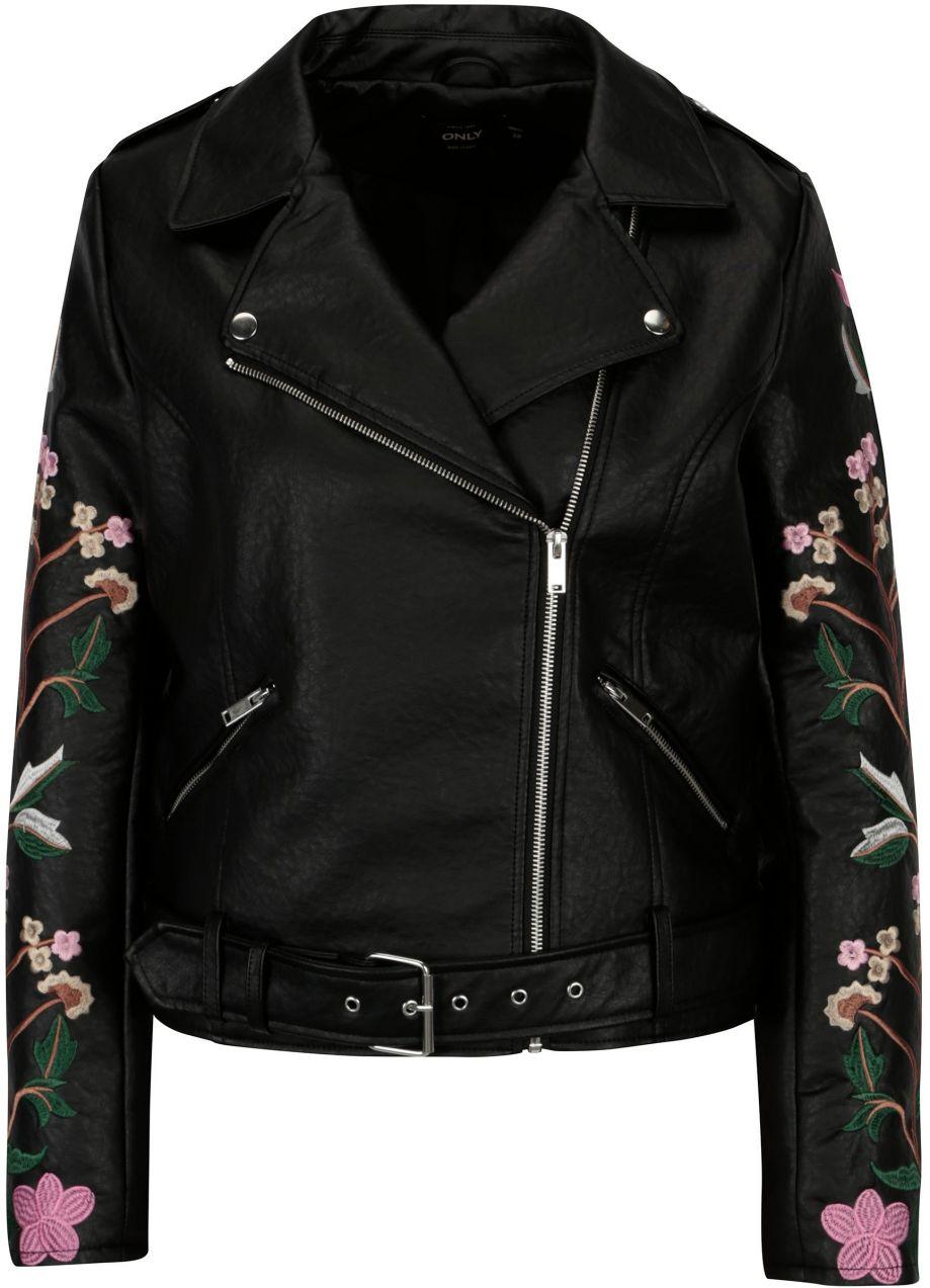 0be5dd055fb8 Čierna kožená bunda s výšivkou na rukávoch ONLY Maltes značky ONLY -  Lovely.sk