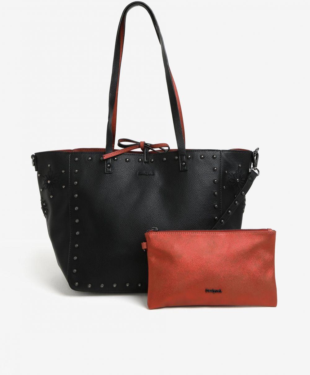 a871c568b3 Čierno-tehlový obojstranný shopper s listovou kabelkou 2v1 Desigual  Portland značky Desigual - Lovely.sk