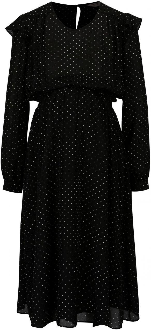 79f43f3511a3 Čierne bodkované šaty s volánmi Dorothy Perkins Maternity značky ...