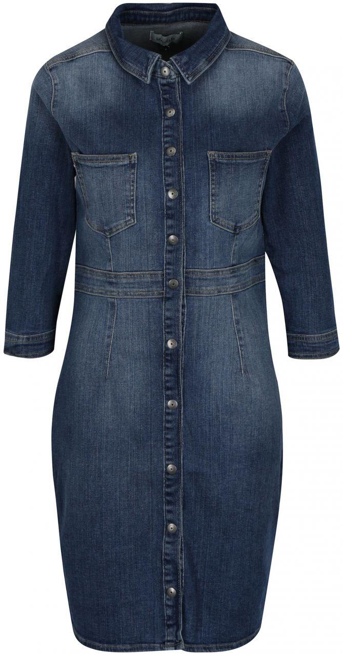 123891680c54 Modré rifľové šaty s 3 4 rukávom Blendshe Panel značky Blend She - Lovely.sk