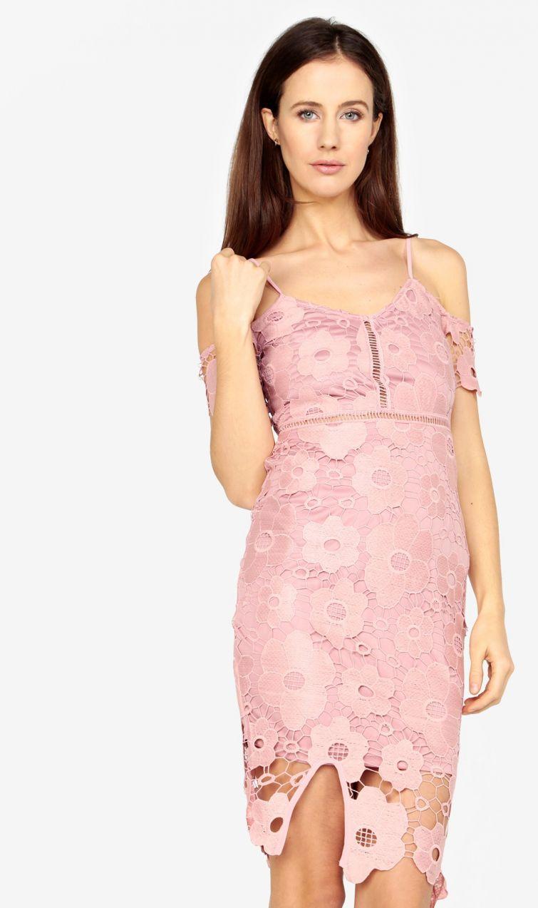 Ružové čipkované puzdrové šaty MISSGUIDED značky Missguided - Lovely.sk e6259a9ef40