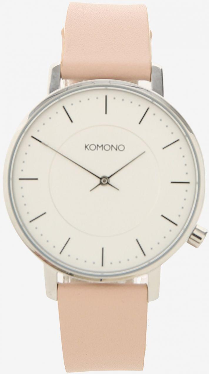 ae6279f2d Dámske hodinky v striebornej farbe s ružovým koženým remienkom Komono  Harlow značky Komono - Lovely.sk