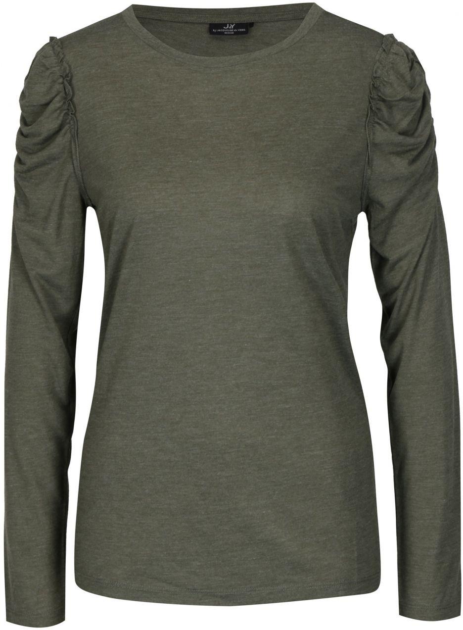 f6d73c7f95 Tmavozelené tričko s riasením na ramenách Jacqueline de Yong Fanny značky Jacqueline  de Yong - Lovely.sk