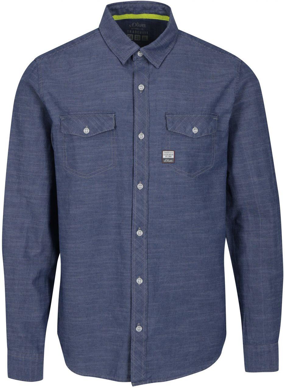 8ab27b1aa2a7 Modrá pánska slim fit košeľa s jemným vzorom s.Oliver značky s.Oliver -  Lovely.sk