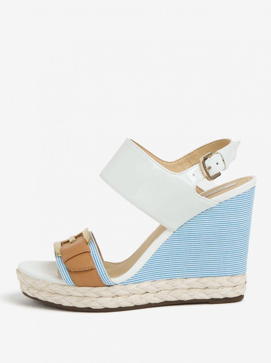 Krémovo-modré vzorované sandále na platforme Geox Janira značky Geox ... bafb6b5ccb