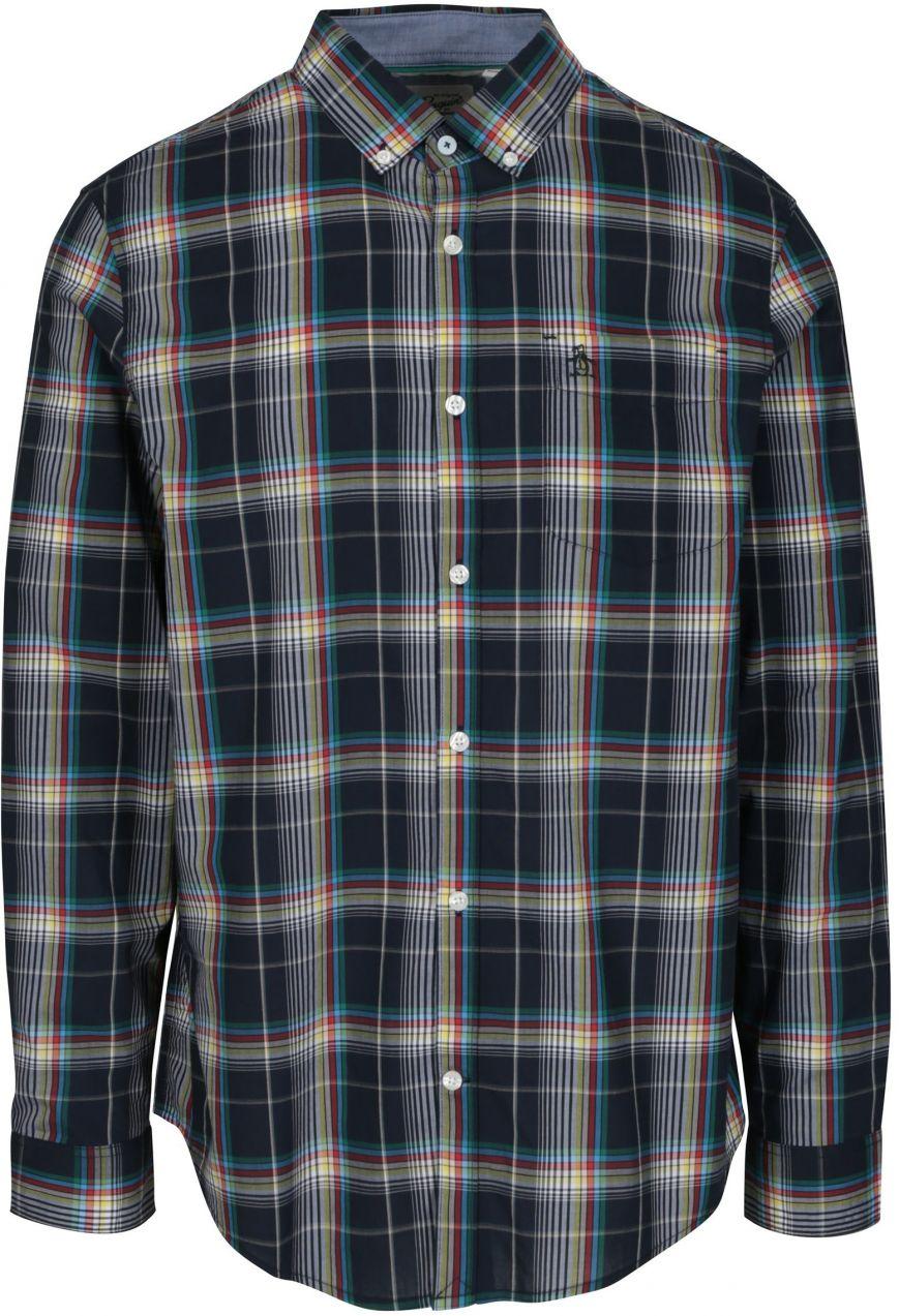 8f1492e2af98 Modrá károvaná košeľa s náprsným vreckom Original Penguin Plaid ...