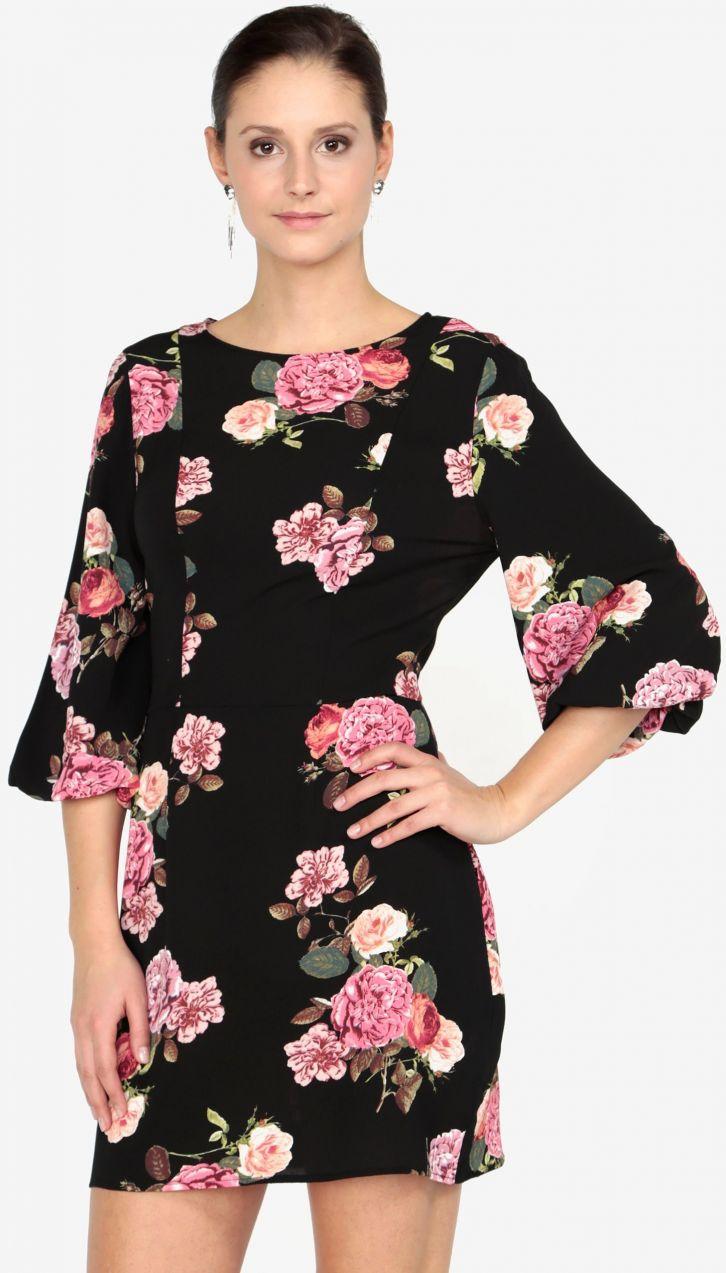 a05d22046e95 Čierne kvetované šaty s 3 4 rukávom AX Paris značky AX Paris - Lovely.sk