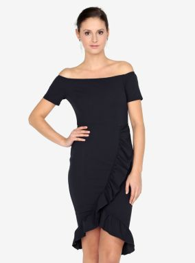 Tmavomodré šaty s odhalenými ramenami AX Paris 8ad0ed47202