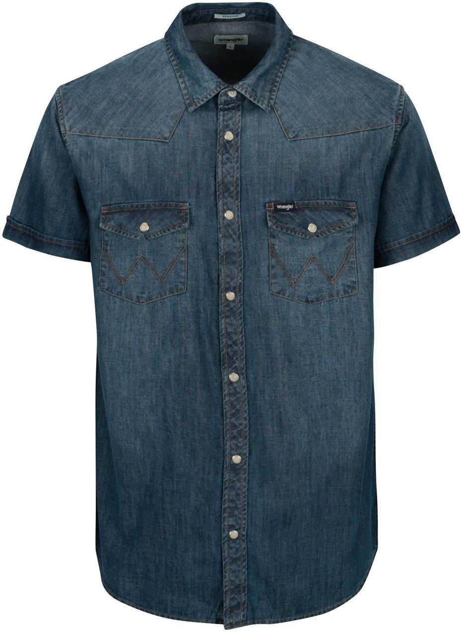 d838edd11d3c Modrá pánska rifľová regular fit košeľa Wrangler Western značky WRANGLER -  Lovely.sk