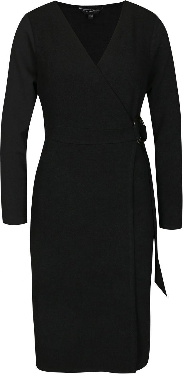 Čierne puzdrové šaty na zavinovanie Dorothy Perkins značky Dorothy Perkins  - Lovely.sk 173c12b3cee