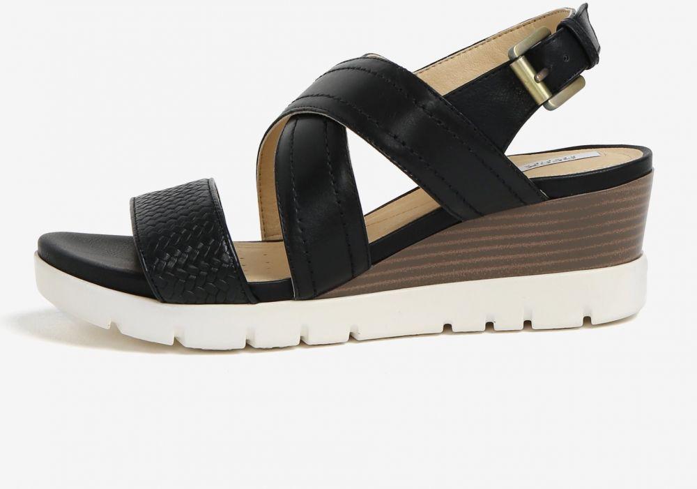 d4262b1206 Čierne kožené sandále na klinovom podpätku Geox Marykarmen značky ...