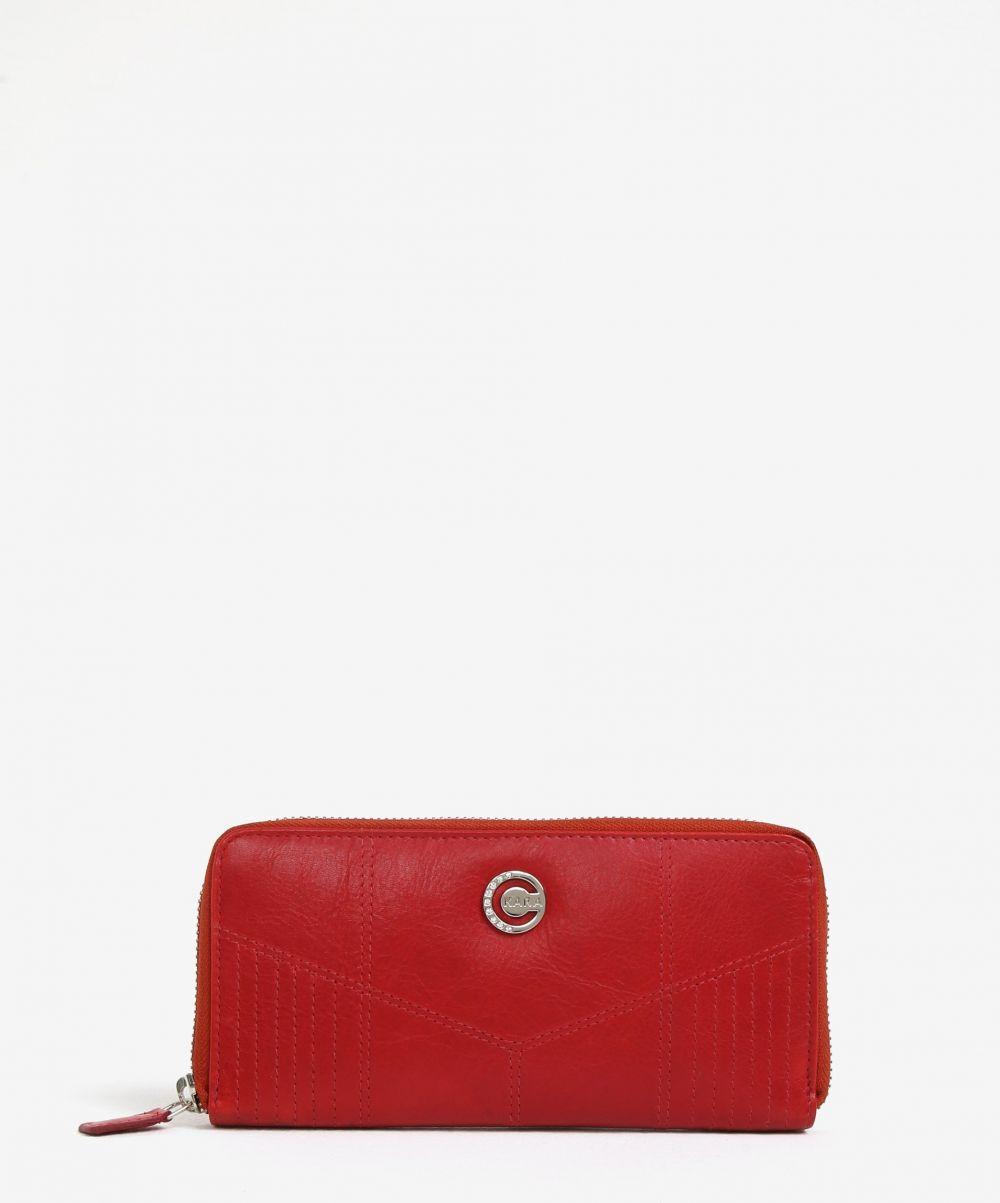 cd4e3ec3f5c4 Červená dámska veľká kožená peňaženka na zips KARA značky KARA - Lovely.sk