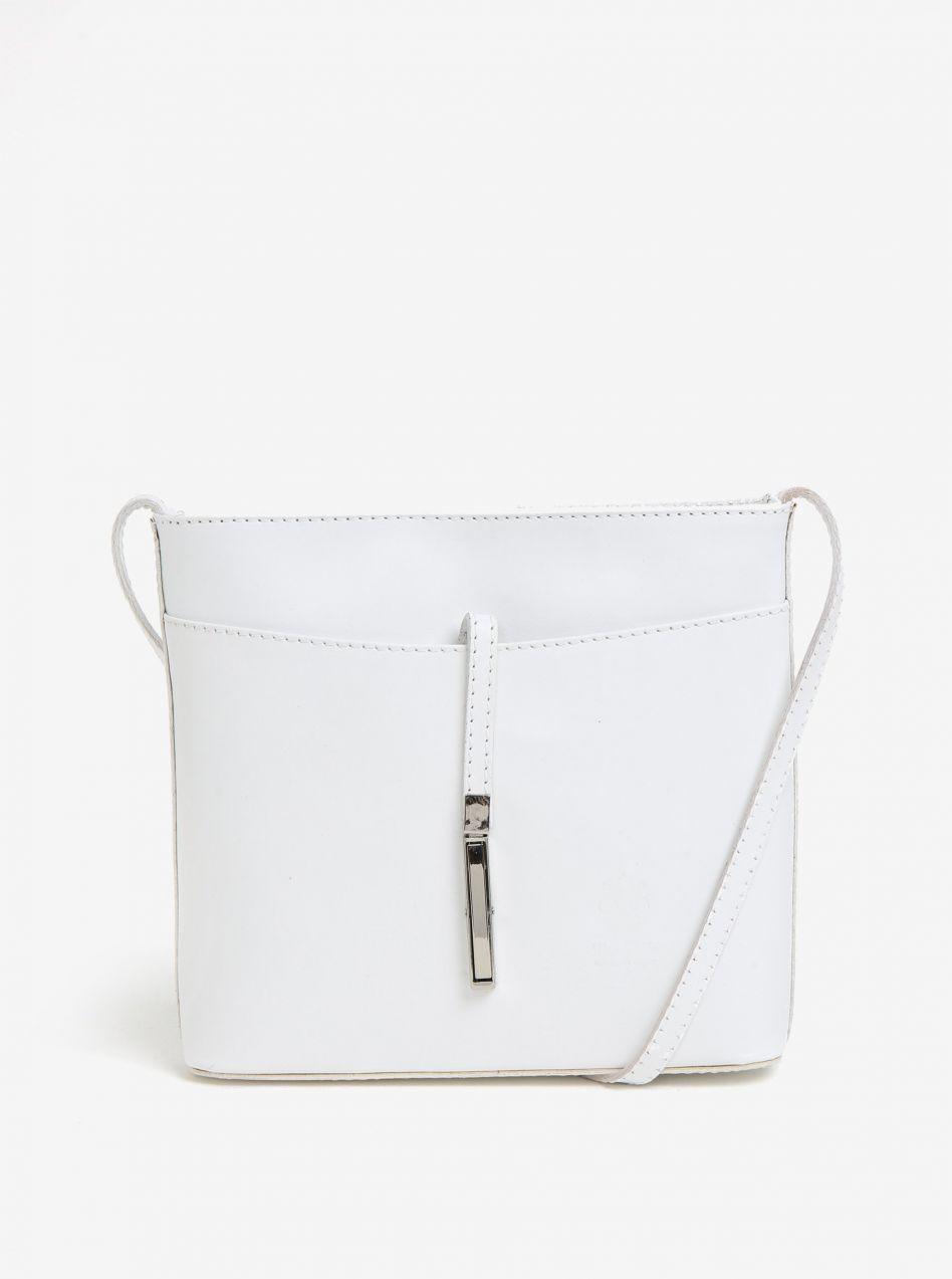Biela dámska kožená crossbody kabelka s detailom v striebornej farbe KARA  značky KARA - Lovely.sk 46c04922c35