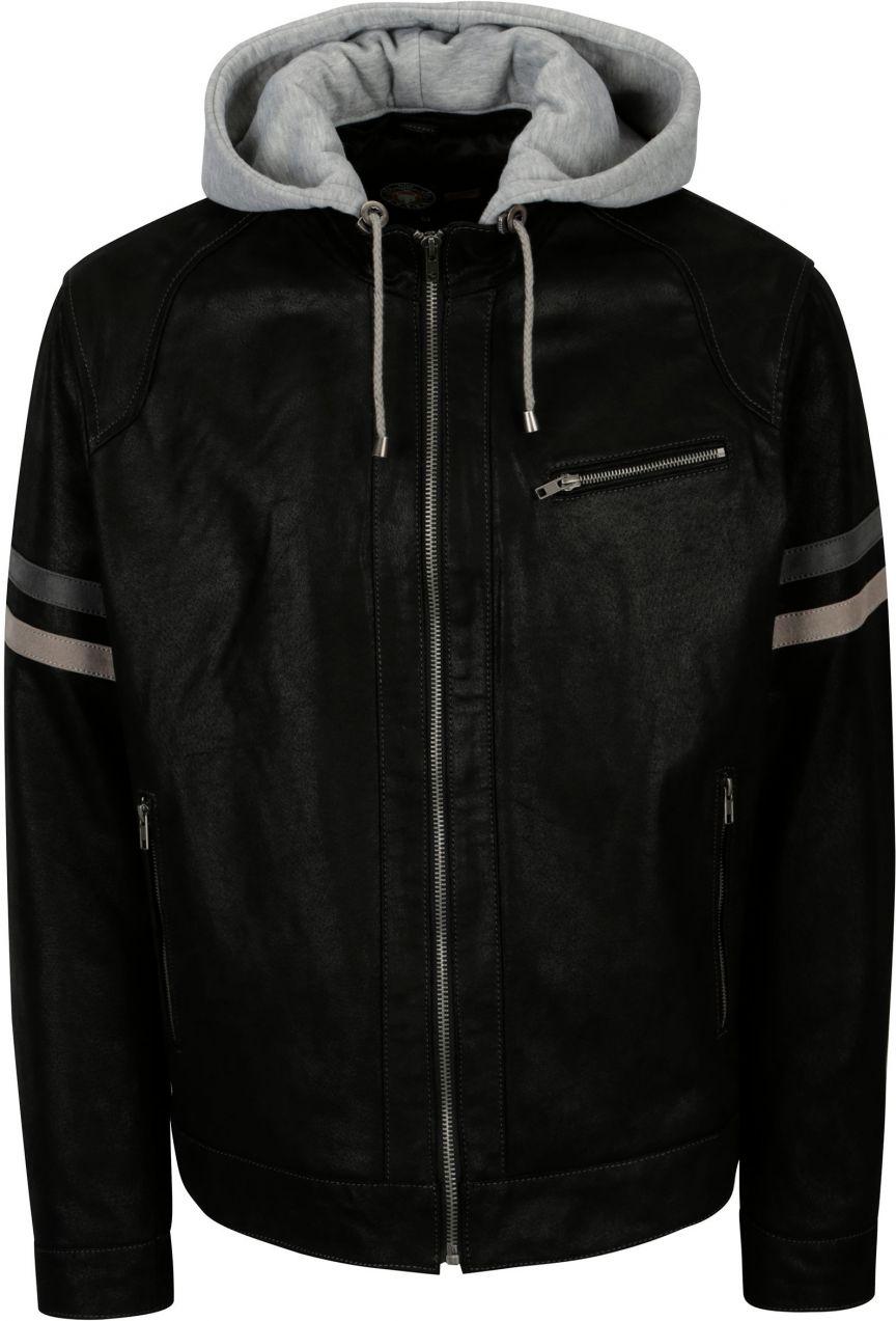 Čierna pánska kožená bunda s kapucňou KARA Eric B značky KARA - Lovely.sk 974e13a9342