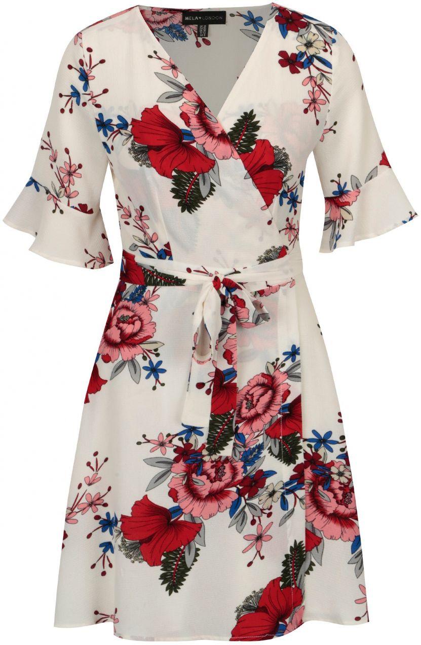 Biele kvetované zavinovacie šaty so zvonovými rukávmi Mela London značky Mela  London - Lovely.sk ea318652588