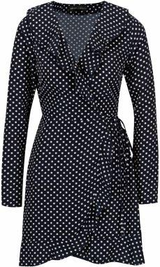 Tmavomodré bodkované zavinovacie šaty s volánmi Mela London cf7ad0a0aa0