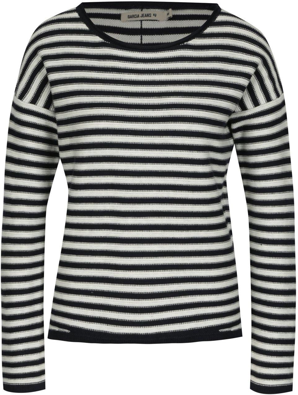 427bdeb833ee Krémovo-modrý dámsky pruhovaný sveter s gombíkmi na chrbte Gracia Jeans  Serena