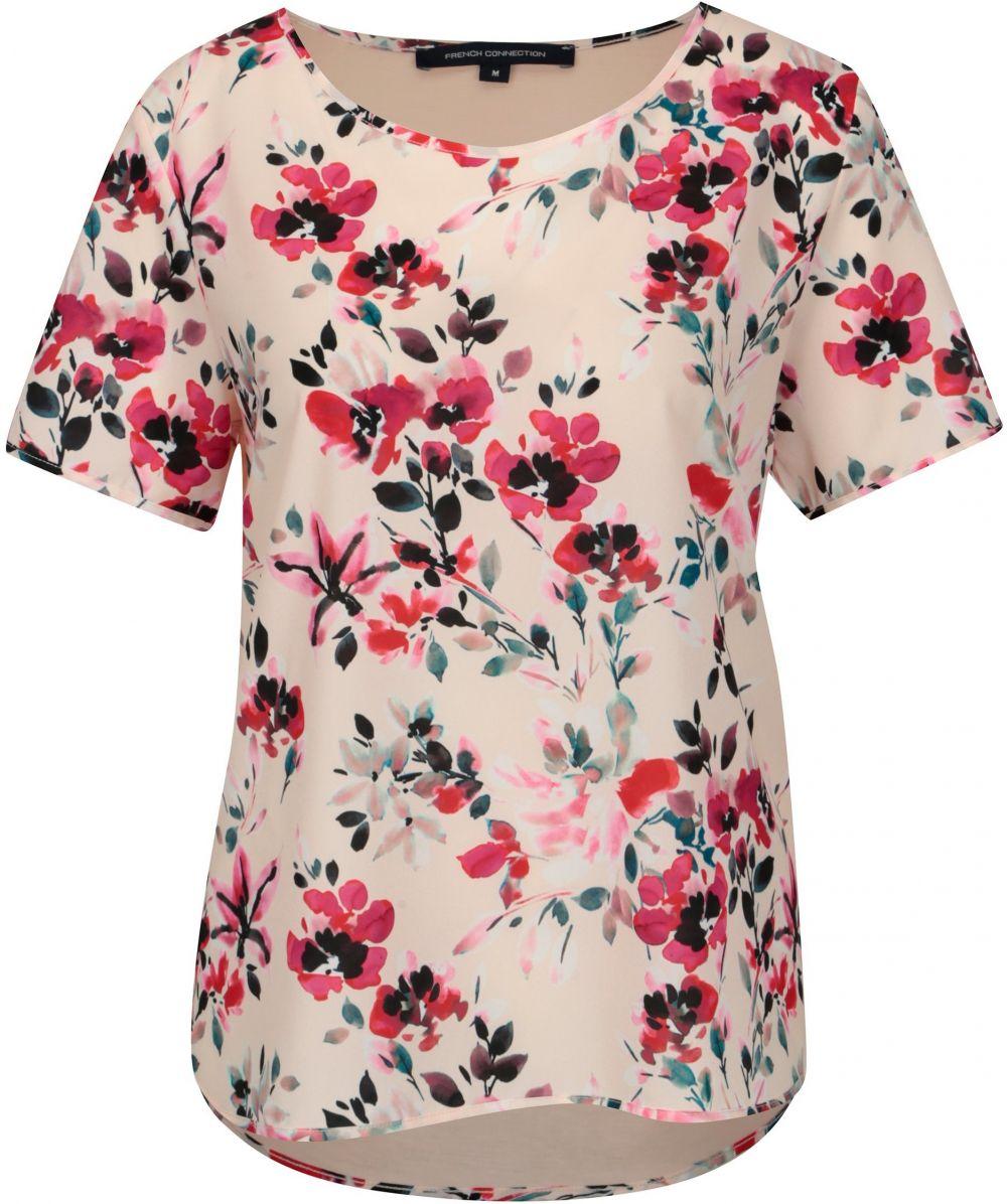9cf42418b40e Svetloružové voľné kvetované tričko French Connection Linosa značky ...