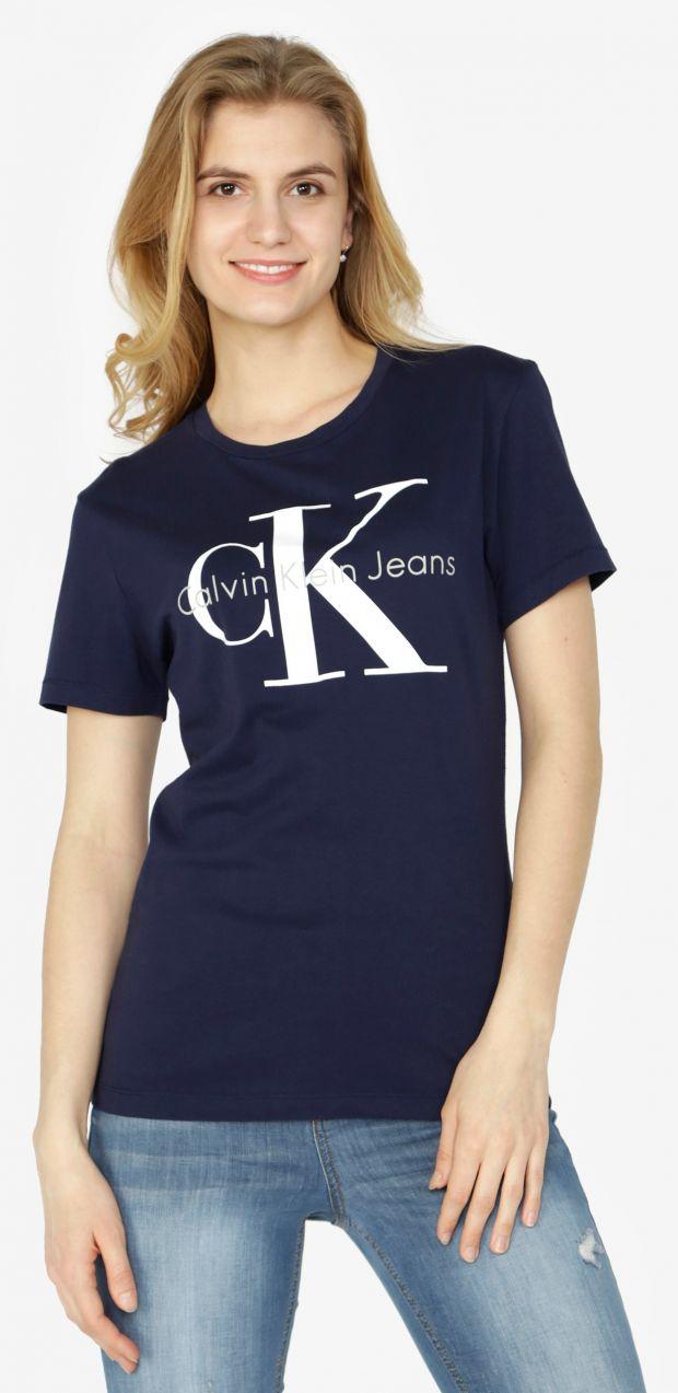 ca235e8fb Tmavomodré dámske tričko s potlačou Calvin Klein Jeans Shrunken značky Calvin  Klein Jeans - Lovely.sk