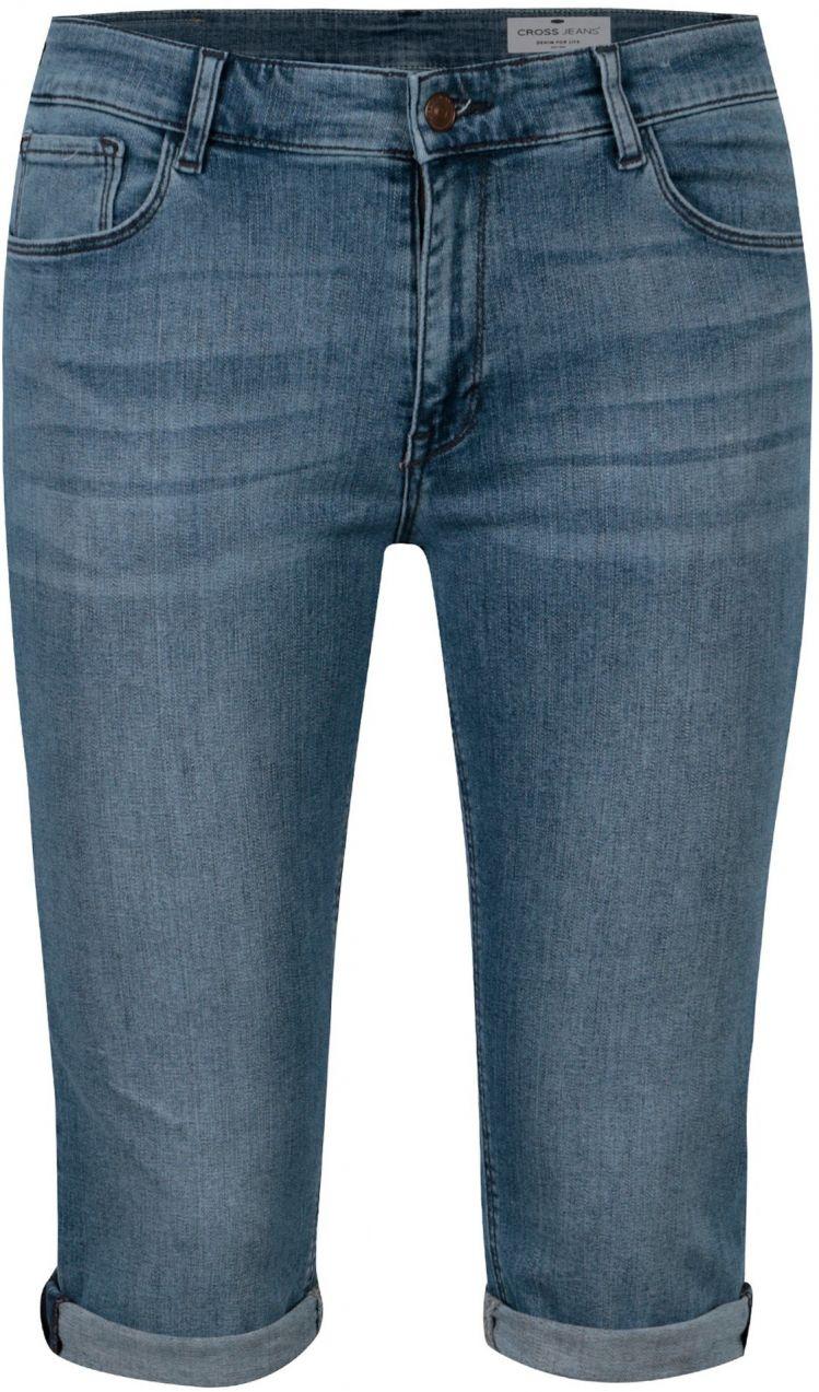 2fb8365b657e Modré dámske slim fit rifľové kraťasy s vysokým pásom Cross Jeans značky CROSS  JEANS - Lovely.sk