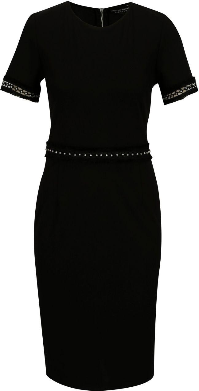Čierne puzdrové šaty s ozdobnými korálkami Dorothy Perkins značky Dorothy  Perkins - Lovely.sk 60e07e086a3