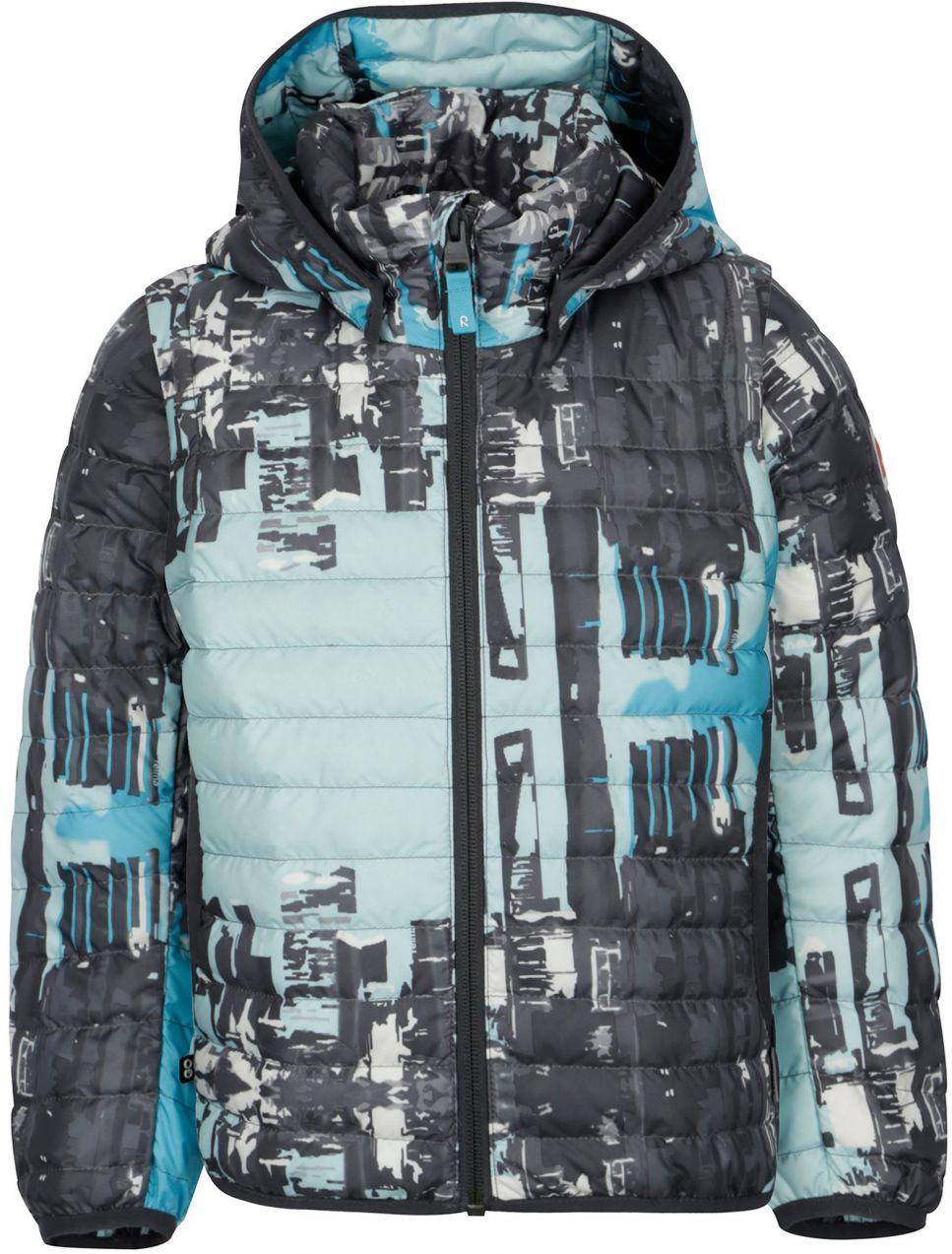 faac2ee8ce1e7 Modro–sivá chlapčenská prešívaná páperová bunda s odnímateľnými rukávmi  Reima Fleet značky Reima - Lovely.sk
