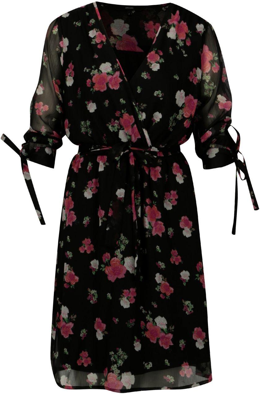9a0628c13d25 Čierne kvetované šaty s 3 4 rukávom VERO MODA Lili mini značky Vero ...