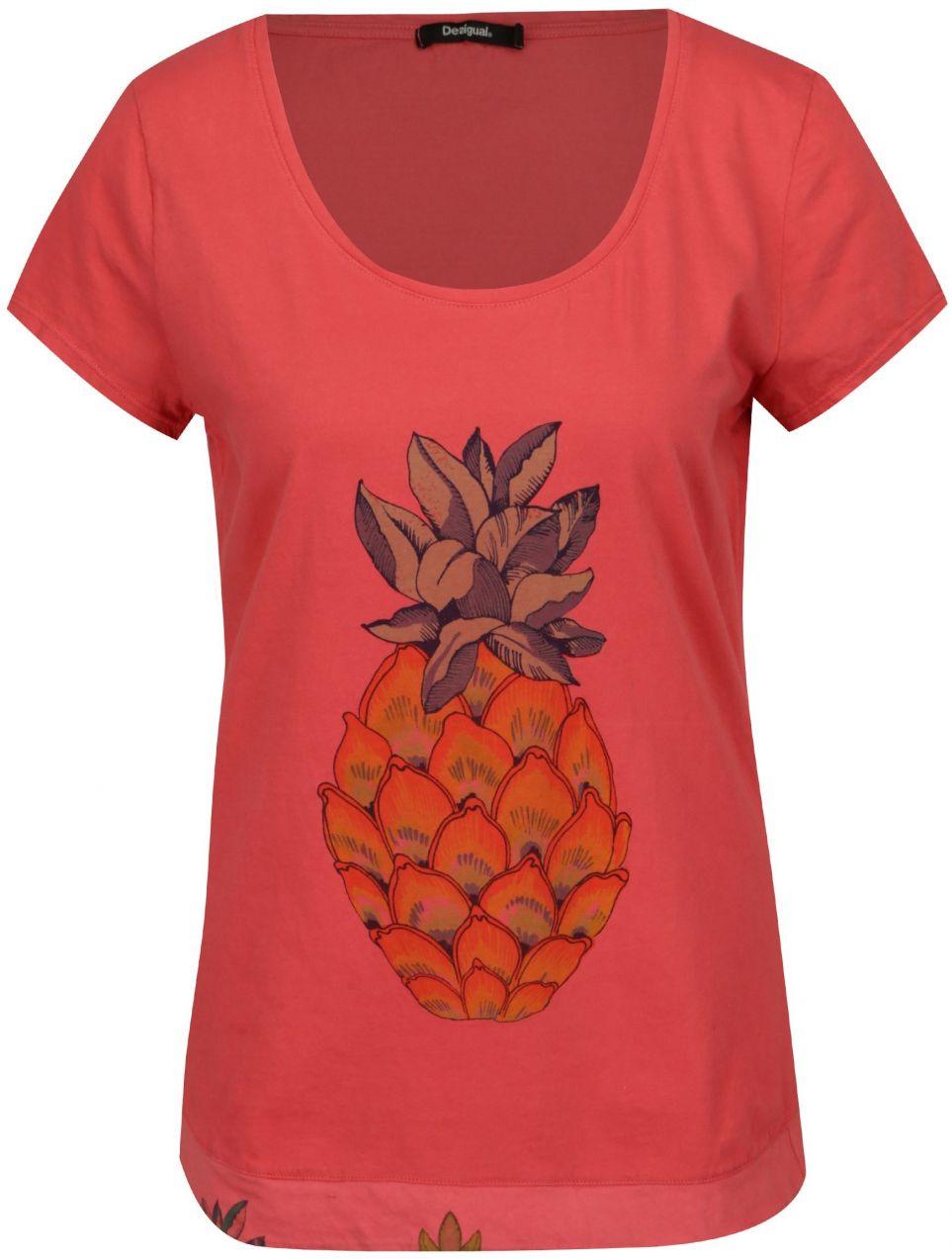 dfbcf5b59b57 Ružové tričko s krátkym rukávom Desigual Rachell značky Desigual ...