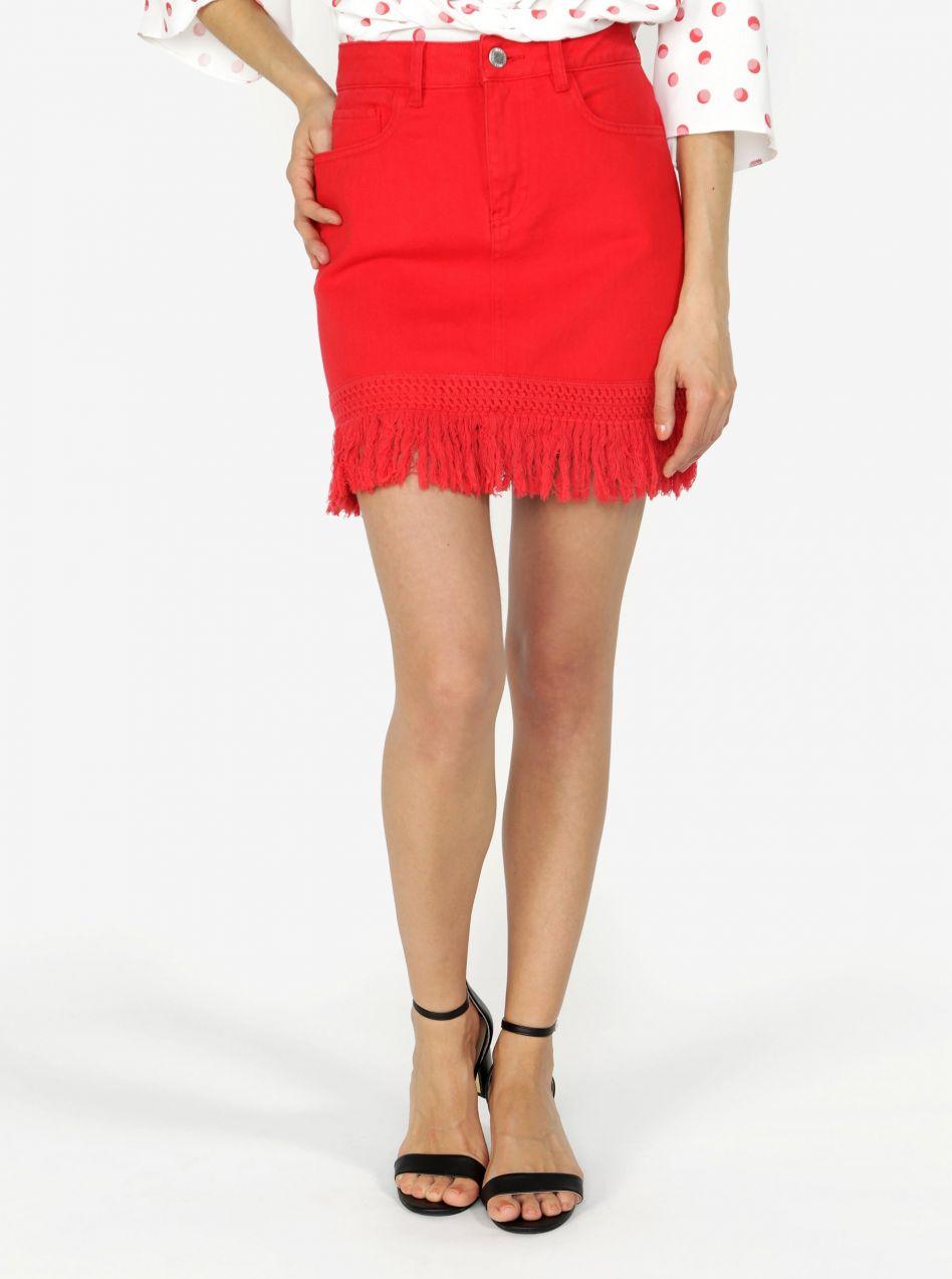 66d893ae72cd Červená rifľová sukňa so strapcami Miss Selfridge značky Miss ...