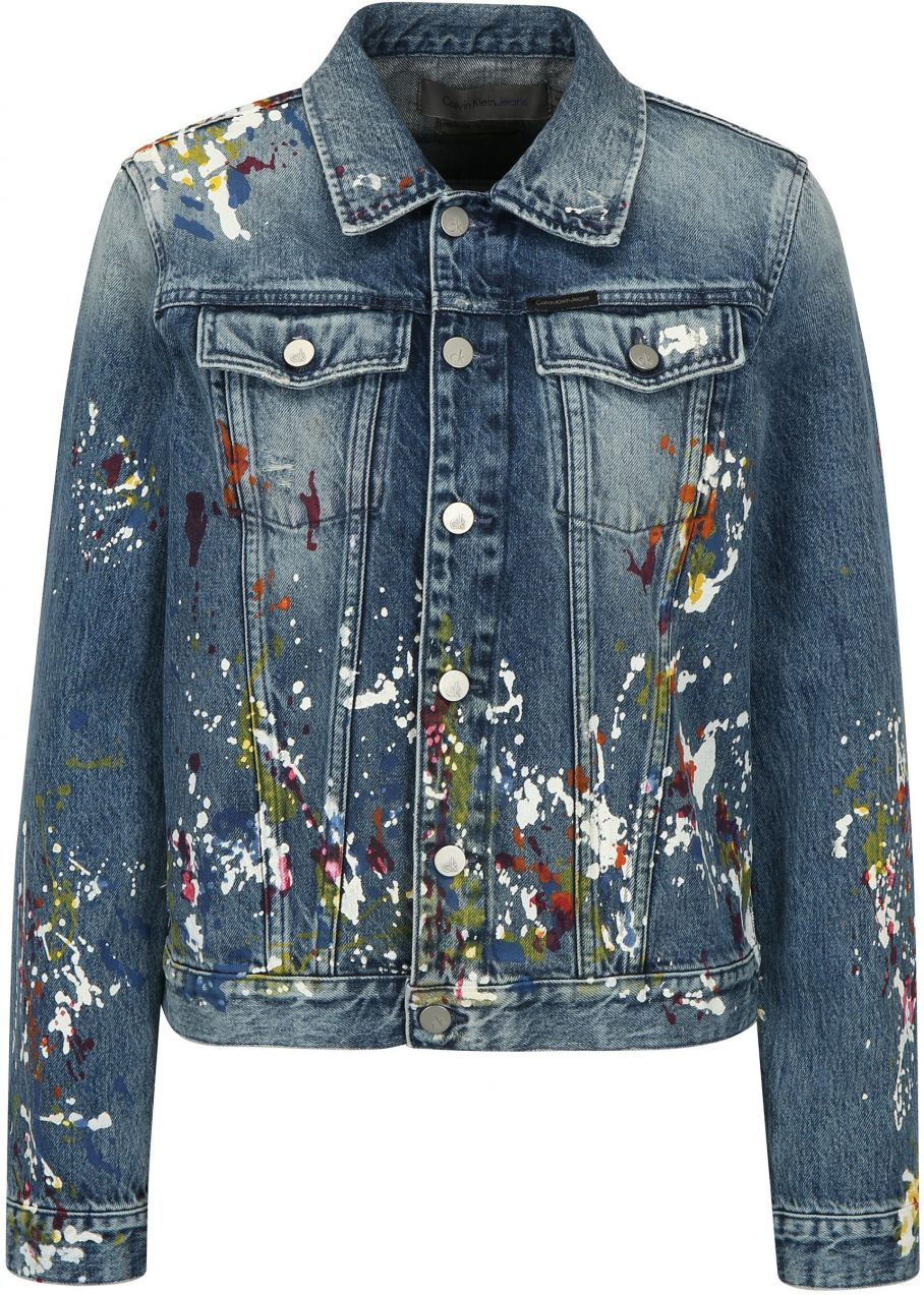 84b54dc92 Modrá dámska rifľová bunda s potlačou Calvin Klein Jeans značky Calvin  Klein Jeans - Lovely.sk