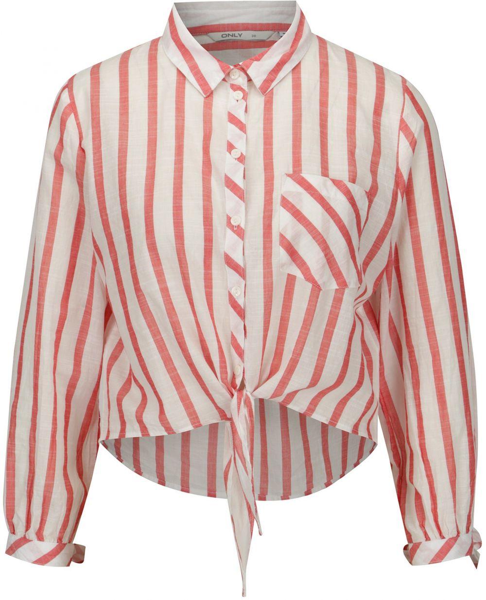 58f34a6a617b Krémovo-červená pruhovaná krátka košeľa ONLY Ameli značky ONLY ...