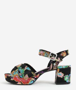 8a71dd93f4 Čierne dámske vzorované sandále na podpätku a platforme Pepe Jeans Hooper  Spring