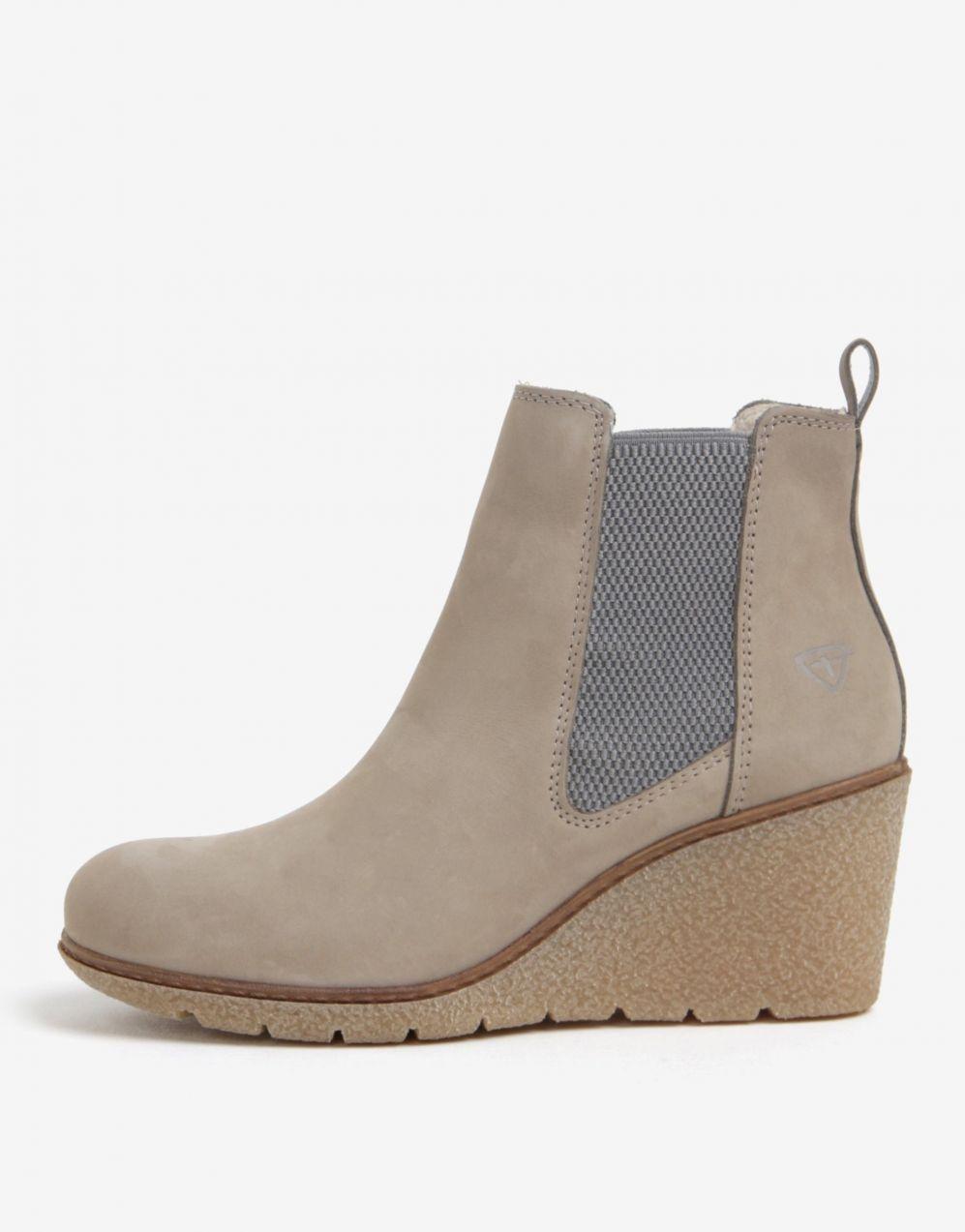 Béžové kožené členkové chelsea topánky na klinovom podpätku Tamaris značky  Tamaris - Lovely.sk 47c08c99278