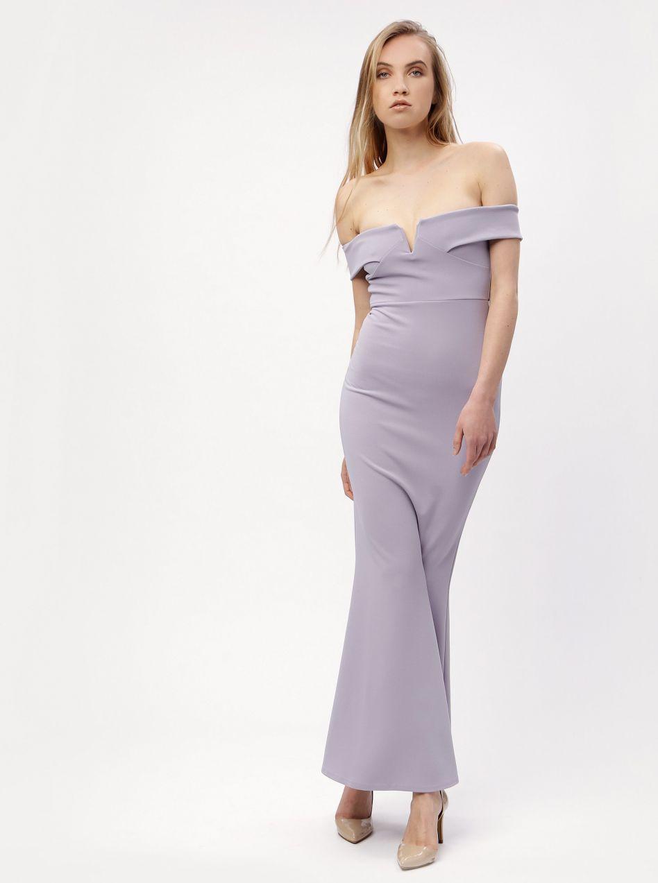 b08e6d663 Svetlofialové dlhé šaty s odhalenými ramenami MISSGUIDED značky ...