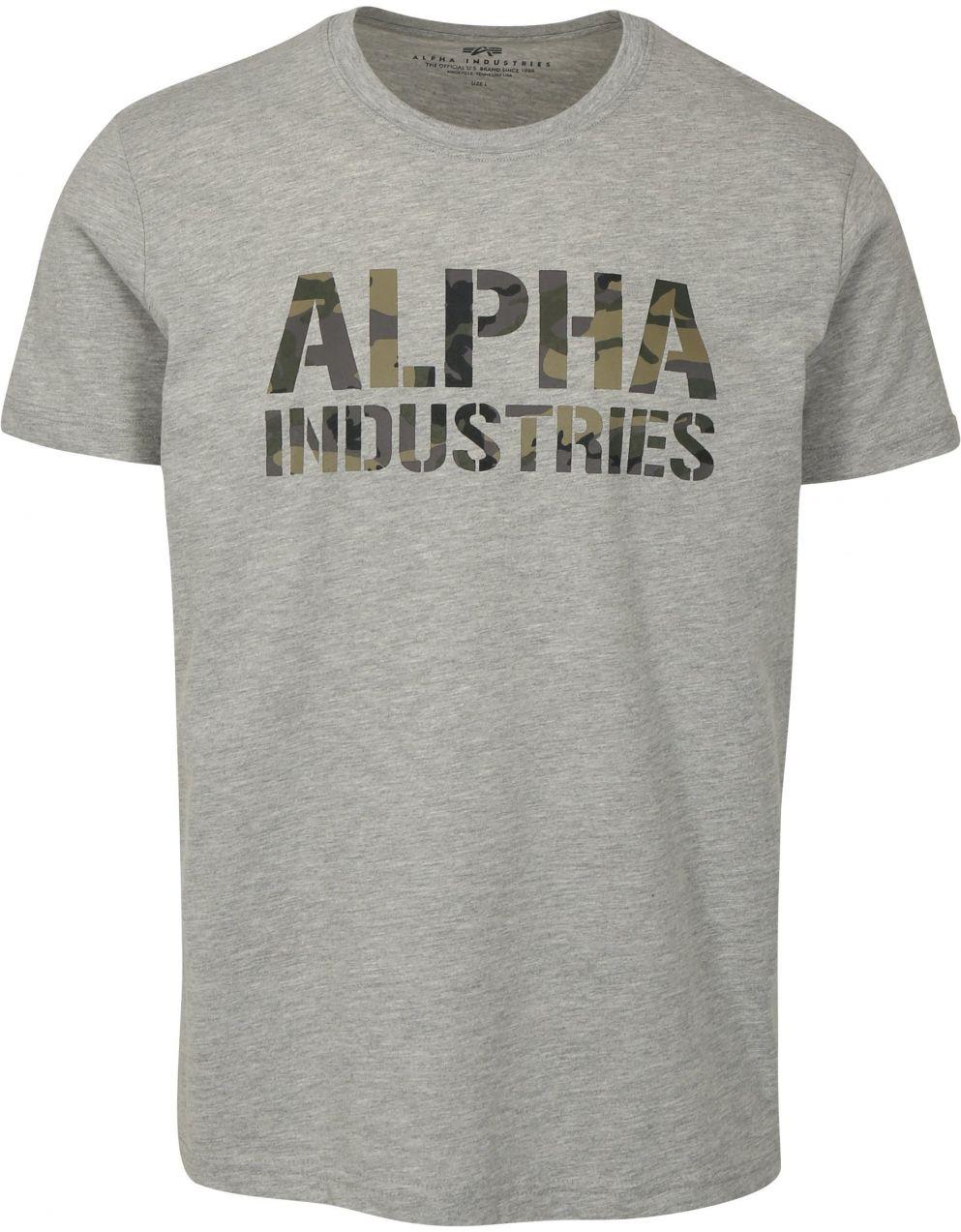000ccb4c7a74 Sivé pánske tričko s potlačou ALPHA INDUSTRIES značky Alpha Industries -  Lovely.sk